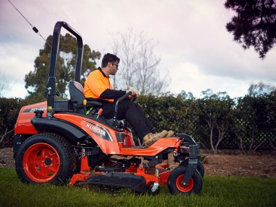 Contractor on diesel mower