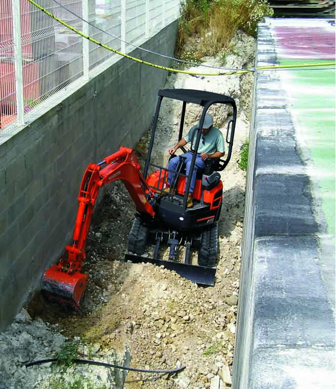 Kubota U series mini excavator digging