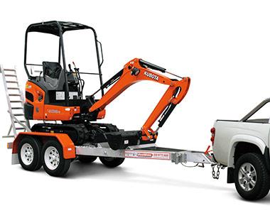 Kubota mini excavator on trailer