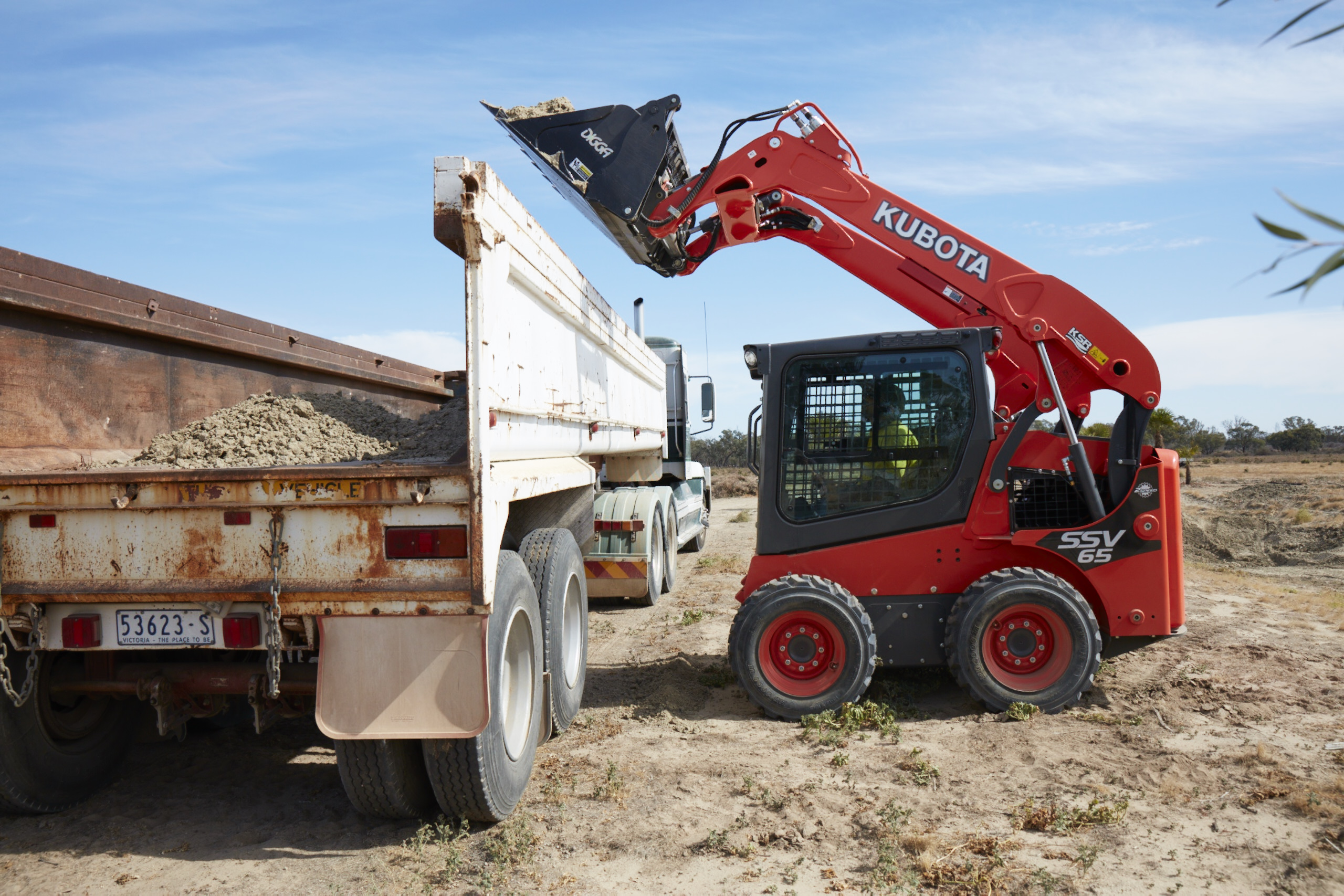 Kubota SSV high lift bucket skid steer