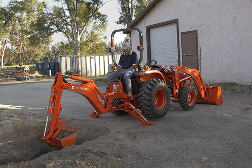 Kubota L series backhoe model working implement